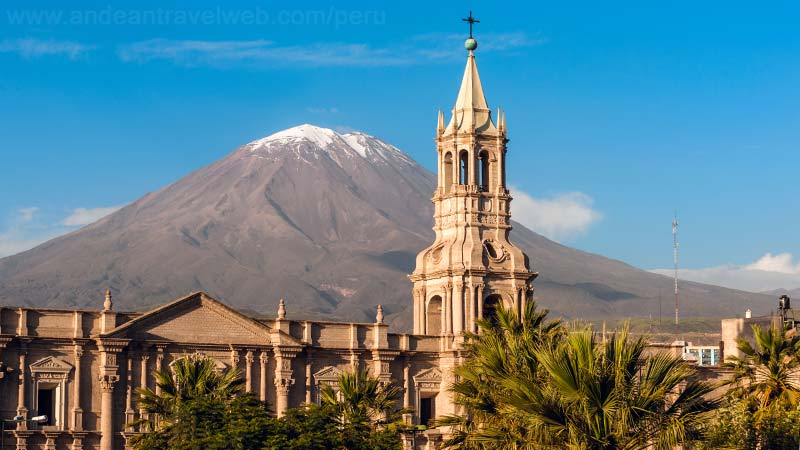 Arequipa cathedral and El Misti Volcano