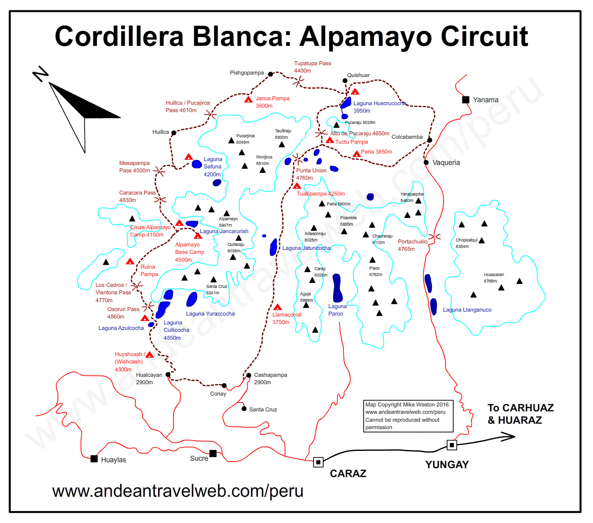 Map of the Alpamayo Circuit trek in the Cordillera Blanca, Peru
