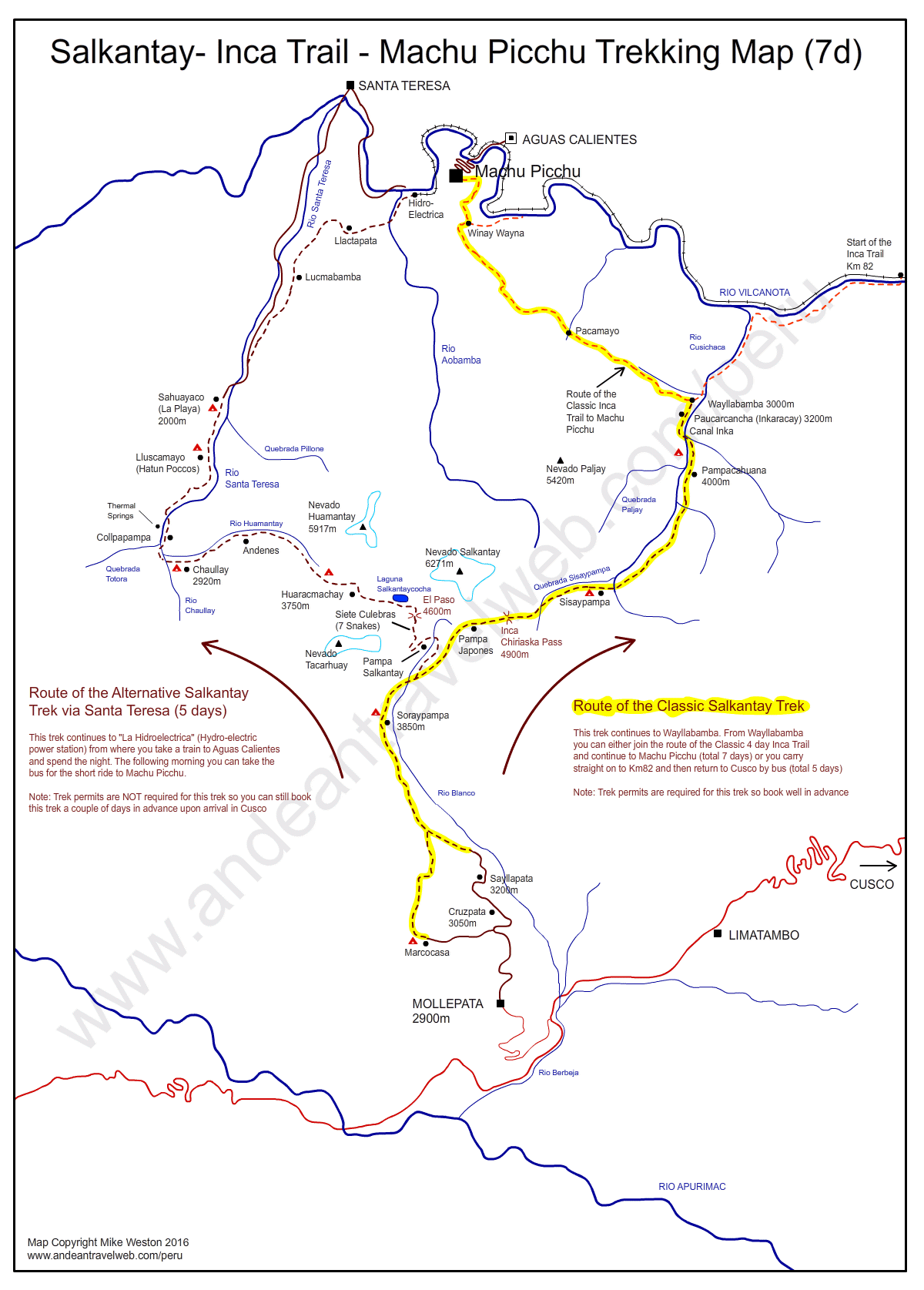 Map of the 7 day Salkantay / Inca Trail to Machu Picchu trek