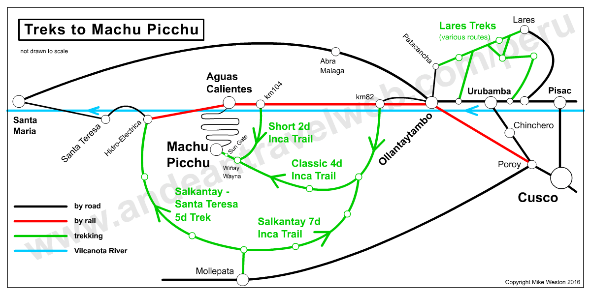 Map showing the various treks to Machu Picchu