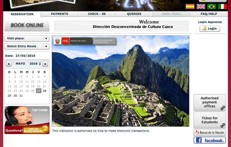 Screen shot buying Machu Picchu Tickets online