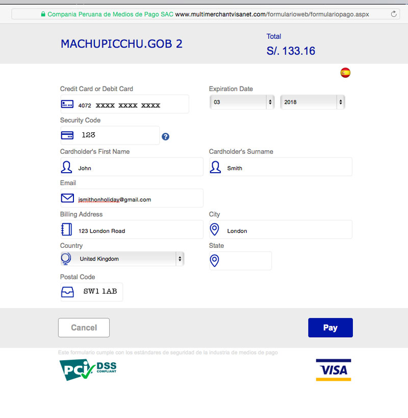 Buying Machu Picchu Tickets online payments 2